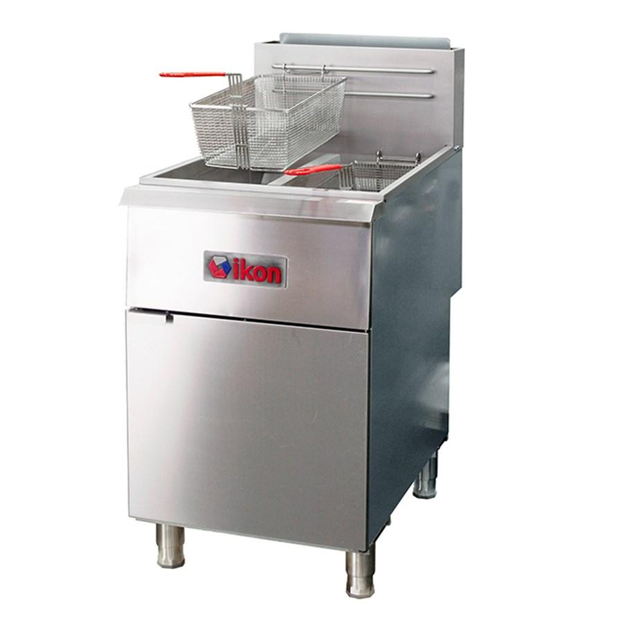 40 lb. Liquid Propane Gas Split Pot Floor Fryer (IKON) Image